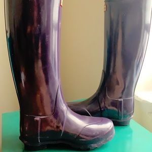 Purple Hunter Gloss Rubber Tall Rain Boots Size 6